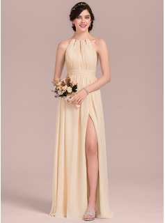 A-Line Scoop Neck Floor-Length Chiffon Wedding Dress With Ruffle Bow(s) Split Front (002207448)