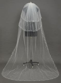 Dreischichtig Schnittkante Kapelle Braut Schleier mit Faux-Perlen (006034398)