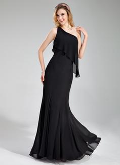 Trumpet/Mermaid One-Shoulder Floor-Length Chiffon Bridesmaid Dress (007019632)