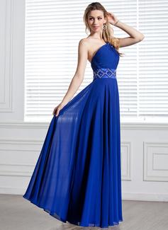 A-Linie/Princess-Linie One-Shoulder-Träger Bodenlang Chiffon Abendkleid mit Rüschen Perlen verziert (017004344)