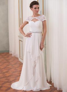 Forme Princesse Col rond alayage/Pinceau train Mousseline Dentelle Robe de mariée avec Emperler Robe à volants (002052704)