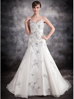 Ball-Gown V-neck Chapel Train Organza Satin Wedding Dress With Appliques Lace Sequins (002016888)