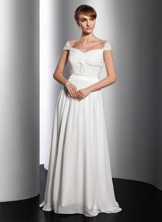 Vestidos princesa/ Formato A Decote V Sweep/Brush trem Tecido de seda Vestido de Férias com Pregueado Beading (020014734)