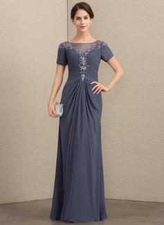 A-Linie/Princess-Linie U-Ausschnitt Bodenlang Chiffon Kleid für die Brautmutter mit Spitze Perlstickerei Pailletten (008164081)