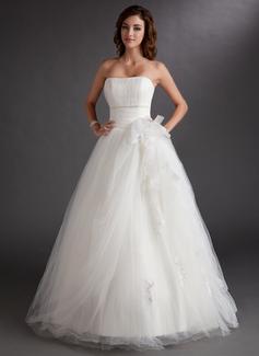 Duchesse-Linie Trägerlos Bodenlang Tüll Quinceañera Kleid (Kleid für die Geburtstagsfeier) mit Perlen verziert Applikationen Spitze (021016764)