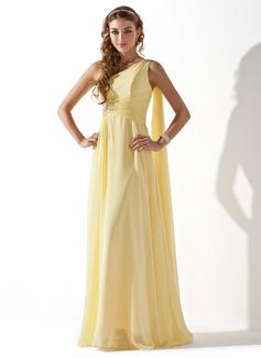 A-Linie/Princess-Linie One-Shoulder-Träger Bodenlang Chiffon Festliche Kleid mit Rüschen Perlen verziert (020013793)