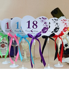 Personalized Heart Shaped Paper Table Number Cards With Holder With Ribbons (Set of 10) (118032237)
