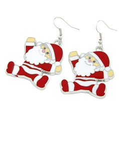 Christmas Santa Alloy/Coloured Glaze Ladies' Earrings (011038857)