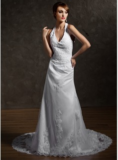 A-Line/Princess Halter Cathedral Train Satin Tulle Wedding Dress With Lace Beading (002011563)