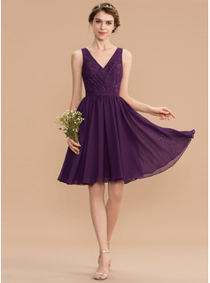 A-Line V-neck Knee-Length Chiffon Lace Bridesmaid Dress With Ruffle (007165837)