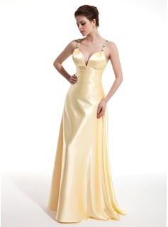 Robe de Bal de Promo Ligne-A/Princesse Col V Longeur au sol Charmeuse Robes de Bal de Promo avec Ondul  Brod (018004804)