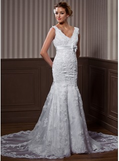 Trumpet/Mermaid V-neck Chapel Train Organza Wedding Dress With Beading Appliques Lace Bow(s) (002004537)