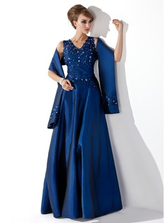 Formal Dresses A-Line/Princess V-neck Floor-Length Taffeta Mother of the Bride Dress With Lace Beading Sequins (008013955)