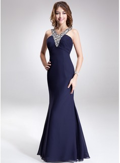 Trumpet/Mermaid V-neck Floor-Length Chiffon Evening Dress With Ruffle Beading (017016868)