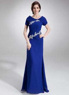 A-Linie/Princess-Linie U-Ausschnitt Bodenlang Chiffon Kleid für die Brautmutter mit Rüschen Perlstickerei Applikationen Spitze Pailletten (008005676)