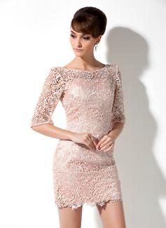 Etui-Linie U-Ausschnitt Kurz/Mini Spitze Kleid für die Brautmutter (008006235)