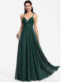 A-Line V-neck Floor-Length Chiffon Prom Dresses With Beading Sequins (018187222)