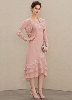 A-Linie Rechteckiger Ausschnitt Asymmetrisch Chiffon Kleid für die Brautmutter mit Applikationen Spitze Gestufte Rüschen (008179204)