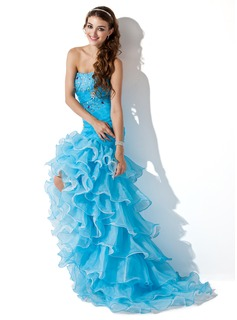 Trumpet/Mermaid Sweetheart Asymmetrical Organza Prom Dress With Beading Split Front Cascading Ruffles (018005086)