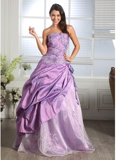 Corte de baile Escote corazón Hasta el suelo Tafetán Organdí Vestido de quinceañera con Volantes Bordado Los appliques Encaje Flores (021005169)
