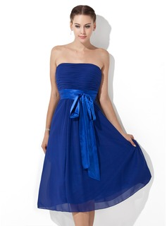 Cheap Bridesmaid Dresses Empire Strapless Tea-Length Chiffon Charmeuse Bridesmaid Dress With Ruffle Sash (007000839)