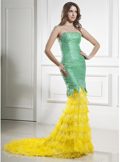 Trumpet/Mermaid Strapless Court Train Organza Satin Lace Prom Dress With Ruffle Cascading Ruffles (018015436)