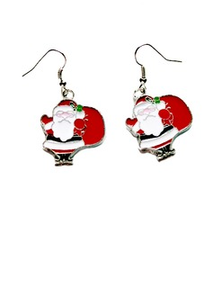 Christmas Santa Alloy/Coloured Glaze Ladies' Earrings (011057623)