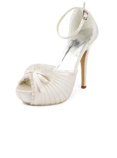 Pour femme Dentelle Satiné Talon aiguille Plateforme Sandales avec Noeud papillon Boucle (047011801)
