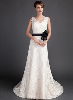 A-Line/Princess V-neck Court Train Satin Lace Wedding Dress With Sash Beading Flower(s) (002015783)