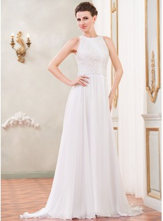 A-Line/Princess Scoop Neck Sweep Train Chiffon Lace Wedding Dress With Beading Sequins (002055086)