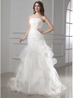 A-Line/Princess Strapless Court Train Organza Satin Wedding Dress With Beading Appliques Lace Cascading Ruffles (002015454)