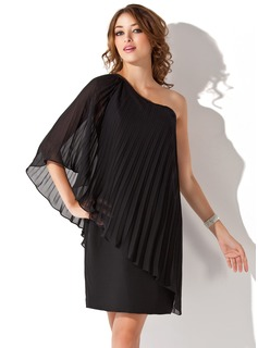 Sheath/Column One-Shoulder Knee-Length Chiffon Cocktail Dress With Pleated (016008695)