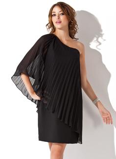 Sivu Yksiolkaiminen Polvipituinen Sifonki Cocktail-mekko jossa Laskostettu (016008695)