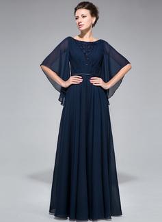 A-Linie/Princess-Linie U-Ausschnitt Bodenlang Chiffon Kleid für die Brautmutter mit Rüschen Spitze Perlstickerei Pailletten (008050135)