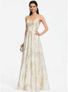 A-Line V-neck Floor-Length Chiffon Prom Dresses (018196925)