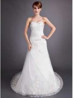 A-Line/Princess Sweetheart Chapel Train Satin Tulle Wedding Dress With Ruffle Lace Beading (002011742)