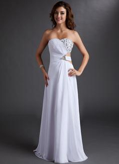 A-Linie/Princess-Linie Trägerlos Bodenlang Chiffon Abendkleid mit Rüschen Perlen verziert (017016721)
