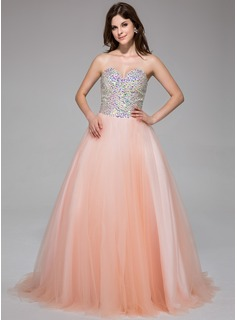 Ball-Gown Sweetheart Sweep Train Tulle Prom Dress With Beading (018025677)