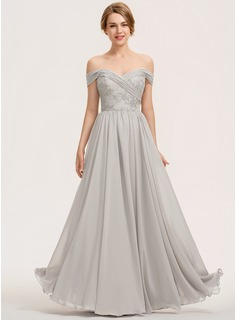 A-Line Off-the-Shoulder Floor-Length Chiffon Lace Bridesmaid Dress With Ruffle (007190697)