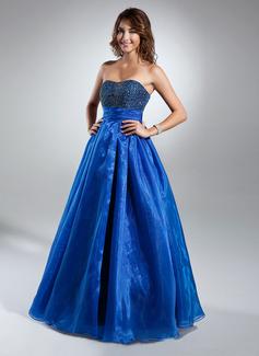 A-Linie/Princess-Linie Herzausschnitt Bodenlang Organza Quinceañera Kleid (Kleid für die Geburtstagsfeier) mit Rüschen Perlen verziert (021015359)