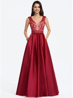 A-Line V-neck Floor-Length Satin Prom Dresses With Beading Sequins Pockets (018187224)