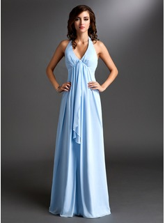 Empire Halter Floor-Length Chiffon Bridesmaid Dress With Ruffle (007000831)