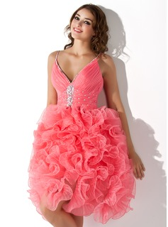 A-Line/Princess V-neck Knee-Length Organza Homecoming Dress With Ruffle Beading Sequins (022008963)
