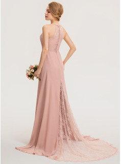 A-Line Scoop Neck Sweep Train Chiffon Lace Bridesmaid Dress With Ruffle (007190701)