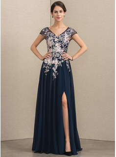 A-Line V-neck Floor-Length Chiffon Lace Evening Dress With Split Front (017192564)