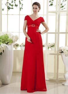 С завышенной талией V-образный Длина до пола шифон Платье Для Матери Невесты с Рябь Булавка с хрустальным цветком (008015435)