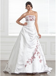 A-Line/Princess Strapless Chapel Train Satin Wedding Dress With Embroidered Beading (002005282)
