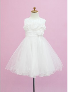 A-Line/Princess Tea-length Flower Girl Dress - Tulle Sleeveless Scoop Neck With Beading/Flower(s) (010005337)