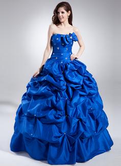 Ball-Gown Sweetheart Floor-Length Taffeta Quinceanera Dress With Ruffle Beading (021015830)