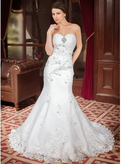 Mermaid Sweetheart Chapel Train Organza Satin Wedding Dress With Ruffle Lace Beadwork Sequins (002000302)